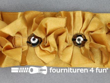 Plissé band 38mm steen goud geel