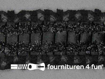 Plissé band 40mm kant zwart
