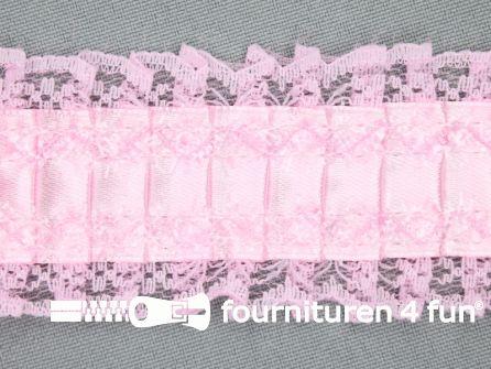 Plissé band 40mm kant licht roze