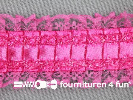 Plissé band 40mm kant fuchsia roze