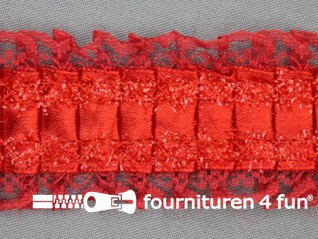 Plissé band 40mm kant rood