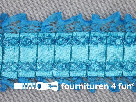 Plissé band 40mm kant aqua blauw