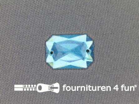 Strass steen 12mm rechthoek aqua blauw