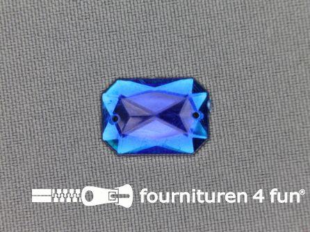 Strass steen 12mm rechthoek kobalt blauw