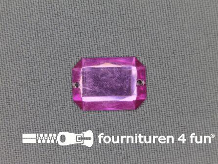 Strass steen 12mm rechthoek licht roze