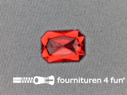 Strass steen 12mm rechthoek rood