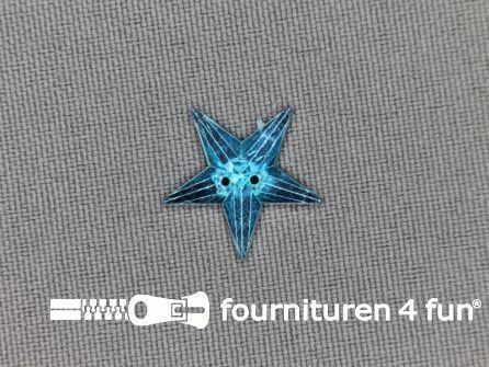 Strass steen 18mm ster aqua blauw