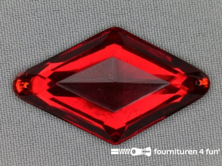Strass steen 25x42mm ruit rood