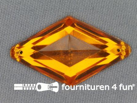 Strass steen 25x42mm ruit goud geel