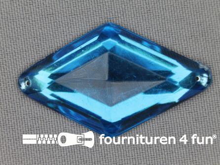 Strass steen 25x42mm ruit aqua blauw