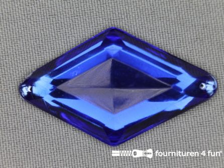 Strass steen 25x42mm ruit kobalt blauw