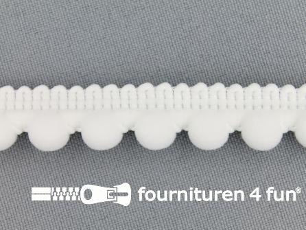 Bolletjesband 15mm wit