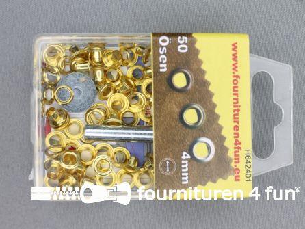 Ringen en schijven 4mm goud 50 stuks