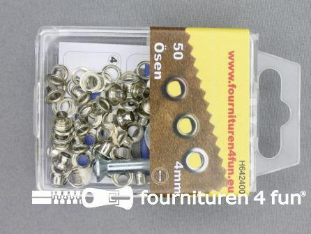 Ringen en schijven 4mm zilver 50 stuks