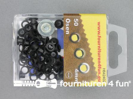 Ringen en schijven 4mm zwart brons 50 stuks