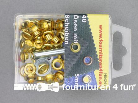 Ringen en schijven 5mm goud 40 stuks
