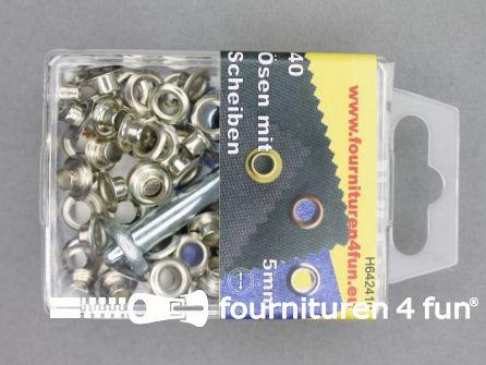 Ringen en schijven 5mm zilver 40 stuks