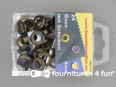 Ringen en schijven 8mm geel brons 24 stuks