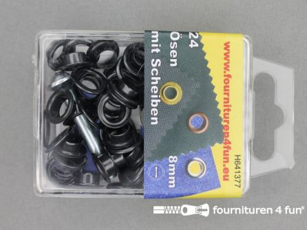 Ringen en schijven 8mm zwart brons 24 stuks