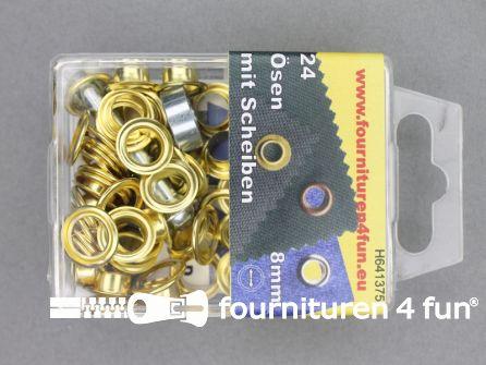 Ringen en schijven 8mm goud 24 stuks