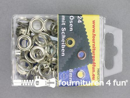 Ringen en schijven 8mm zilver 24 stuks