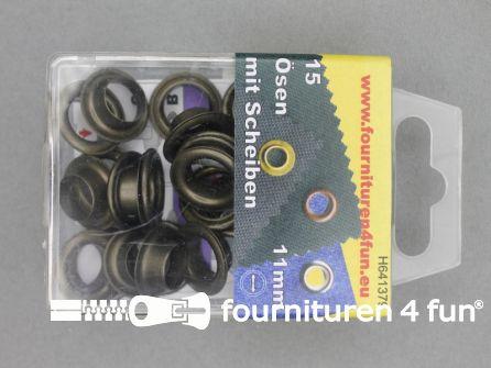 Ringen en schijven 11mm geel brons 15 stuks
