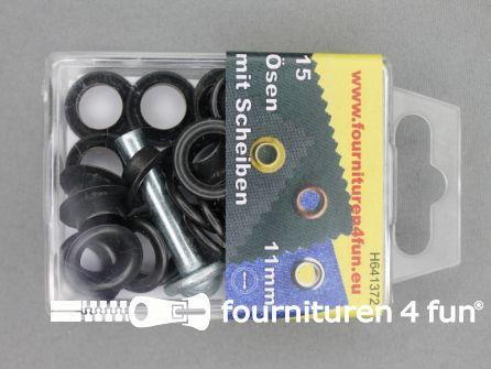 Ringen en schijven 11mm zwart brons 15 stuks