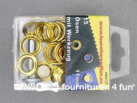 Ringen en schijven 11mm goud 15 stuks