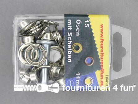 Ringen en schijven 11mm zilver 15 stuks