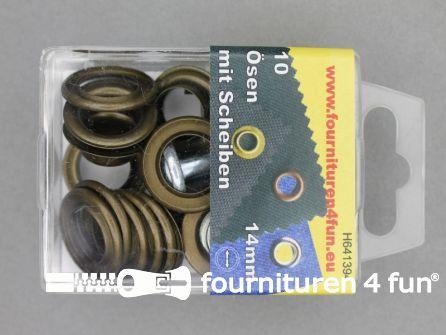 Ringen en schijven 14mm geel brons 10 stuks