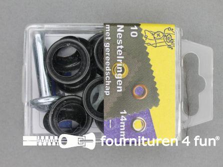 Ringen en schijven 14mm zwart brons 10 stuks