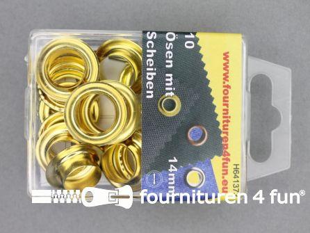 Ringen en schijven 14mm goud 10 stuks