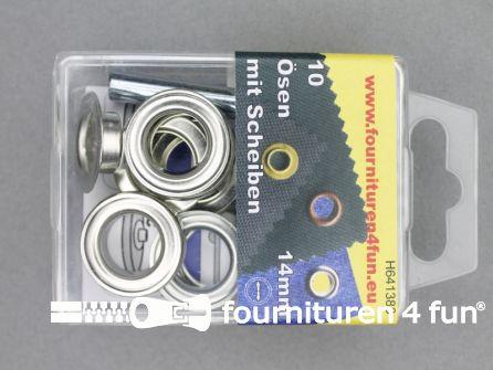 Ringen en schijven 14mm zilver 10 stuks