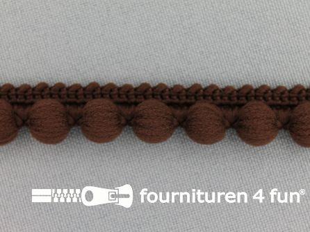 Bolletjesband 15mm donker bruin