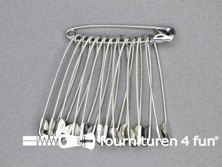 Veiligheidsspelden 60mm zilver 12 stuks
