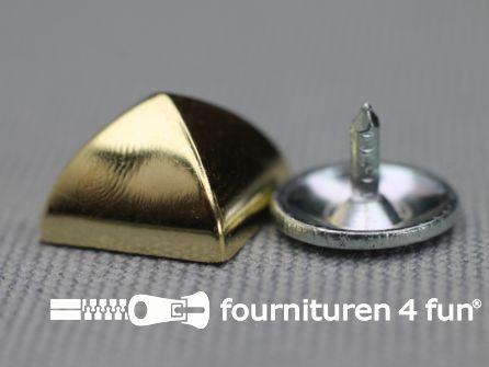 Studs 10mm piramide goud 10 stuks