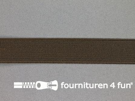 Gekleurd stevig elastiek 20mm donker bruin