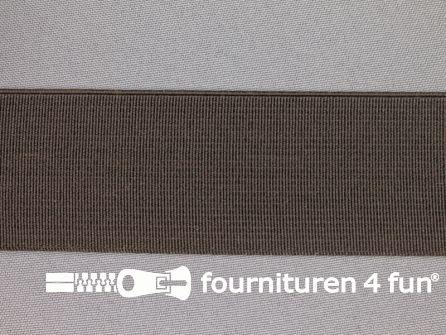 Gekleurd stevig elastiek 40mm donker bruin