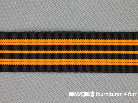 Gekleurd elastiek 20mm zwart - neon oranje