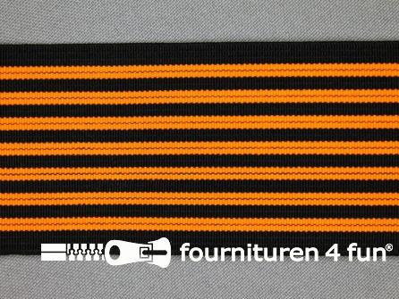 Gekleurd elastiek 50mm zwart - neon oranje