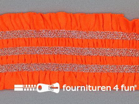 Gekleurd elastiek 50mm ruche neon oranje