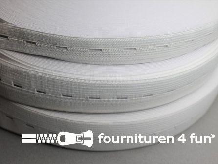 Rol 25 meter knoopsgaten elastiek 18mm wit