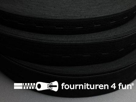 Rol 25 meter knoopsgaten elastiek 18mm zwart