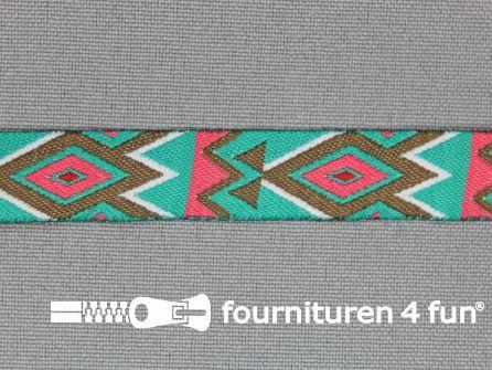 Indianenband 14mm turquoise - roze