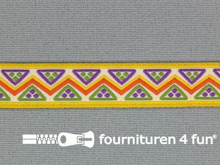 Indianenband 14mm geel - paars