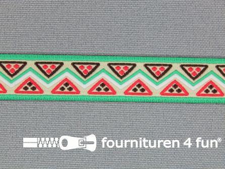 Indianenband 14mm groen - roze