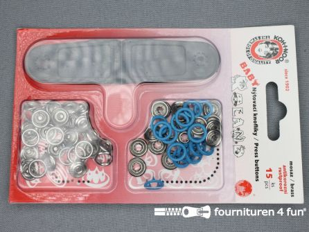 Baby drukkers 9,7mm licht aqua blauw 15 stuks