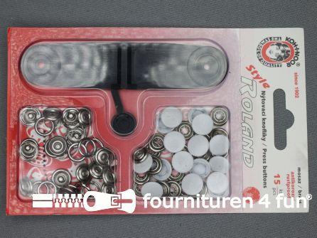 Roland drukkers 10,5mm wit 15 stuks