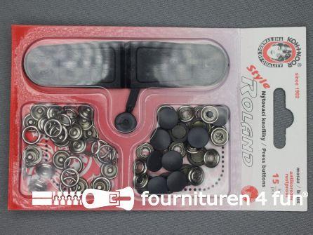 Roland drukkers 10,5mm donker grijs 15 stuks