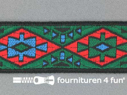Indianenband 26mm groen - rood